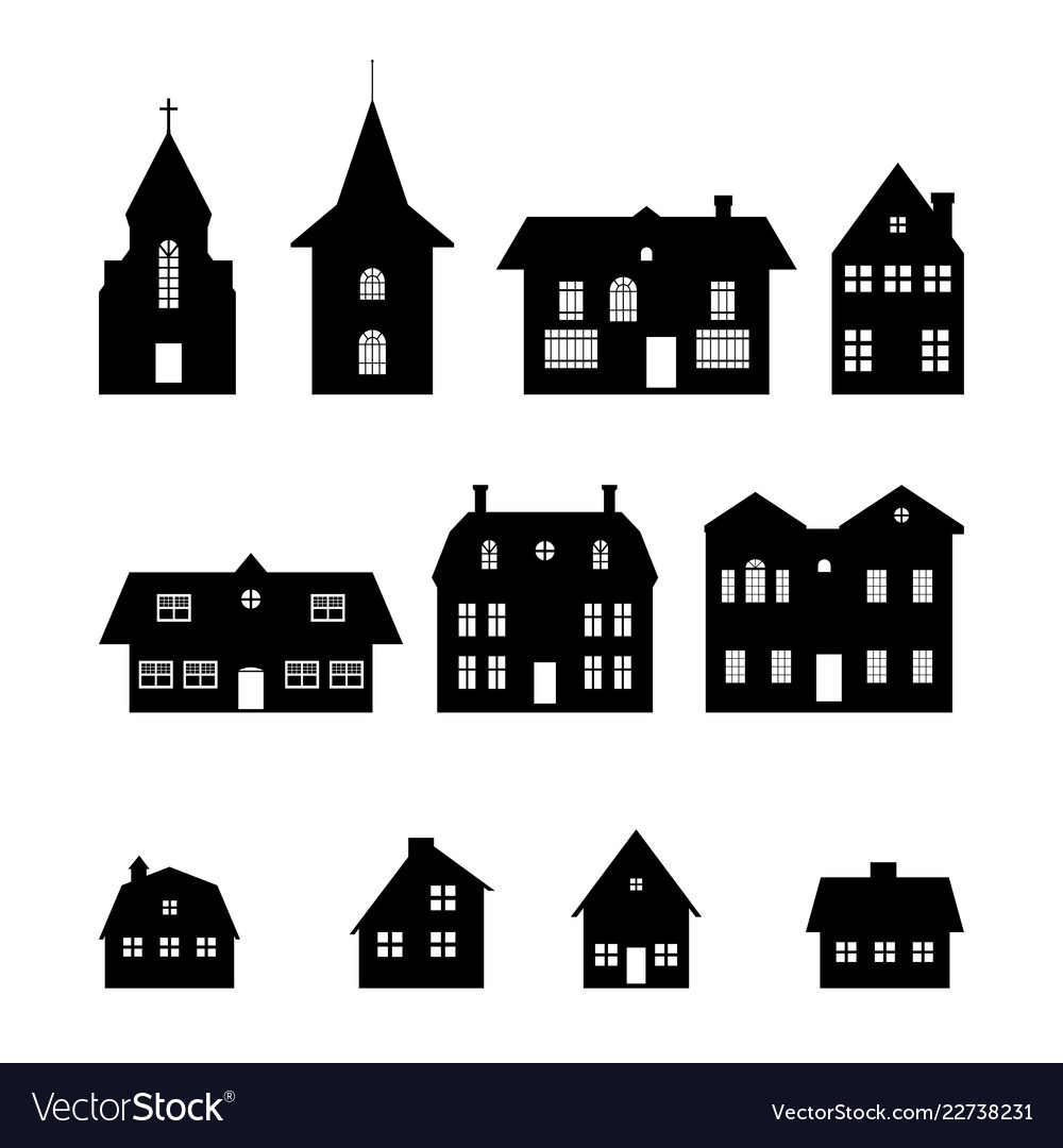 Christmas village clipart black and white png black and white download Black silhouettes of christmas houses png black and white download