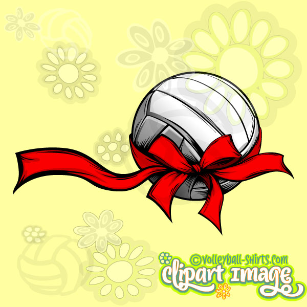 Christmas volleyball clipart banner free Volleyball With Holiday Ribbon - Volleyball Christmas Images banner free