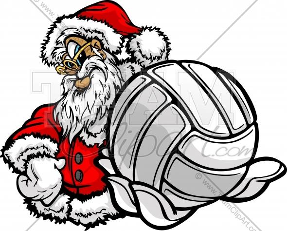 Christmas volleyball clipart clip art freeuse Volleyball Christmas Holiday Smiling Santa Claus Cartoon Vector ... clip art freeuse