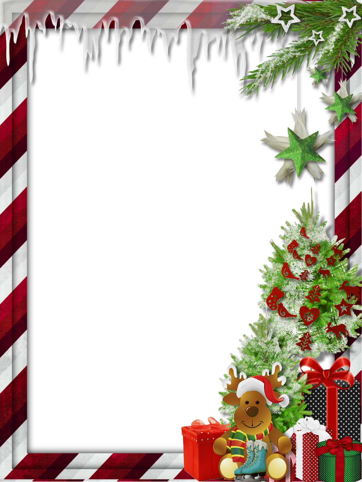 Christmas wallpaper clipart vector free download Transparent Christmas Photo Frame with Cute Reindeer | Gallery ... vector free download