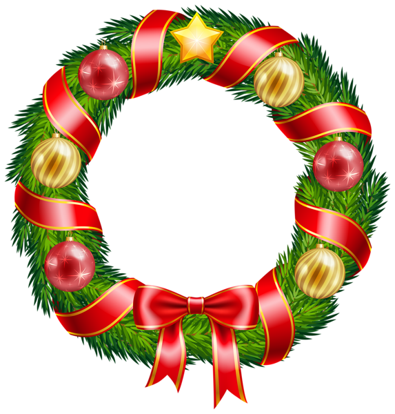 Christmas welcome clipart library Christmas Wreath with Ornaments and Red Bow Clipart PNG Image | New ... library