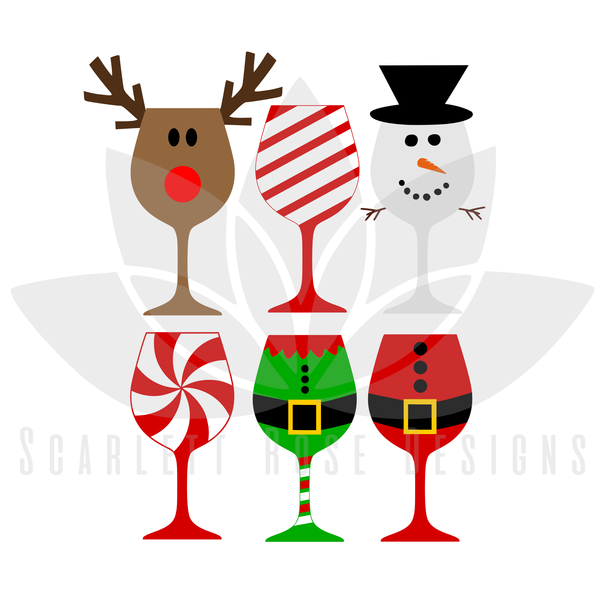 Christmas wine glass clipart clipart transparent download Christmas SVG, Christmas Wine Glasses cut file | Vinyl projects ... clipart transparent download