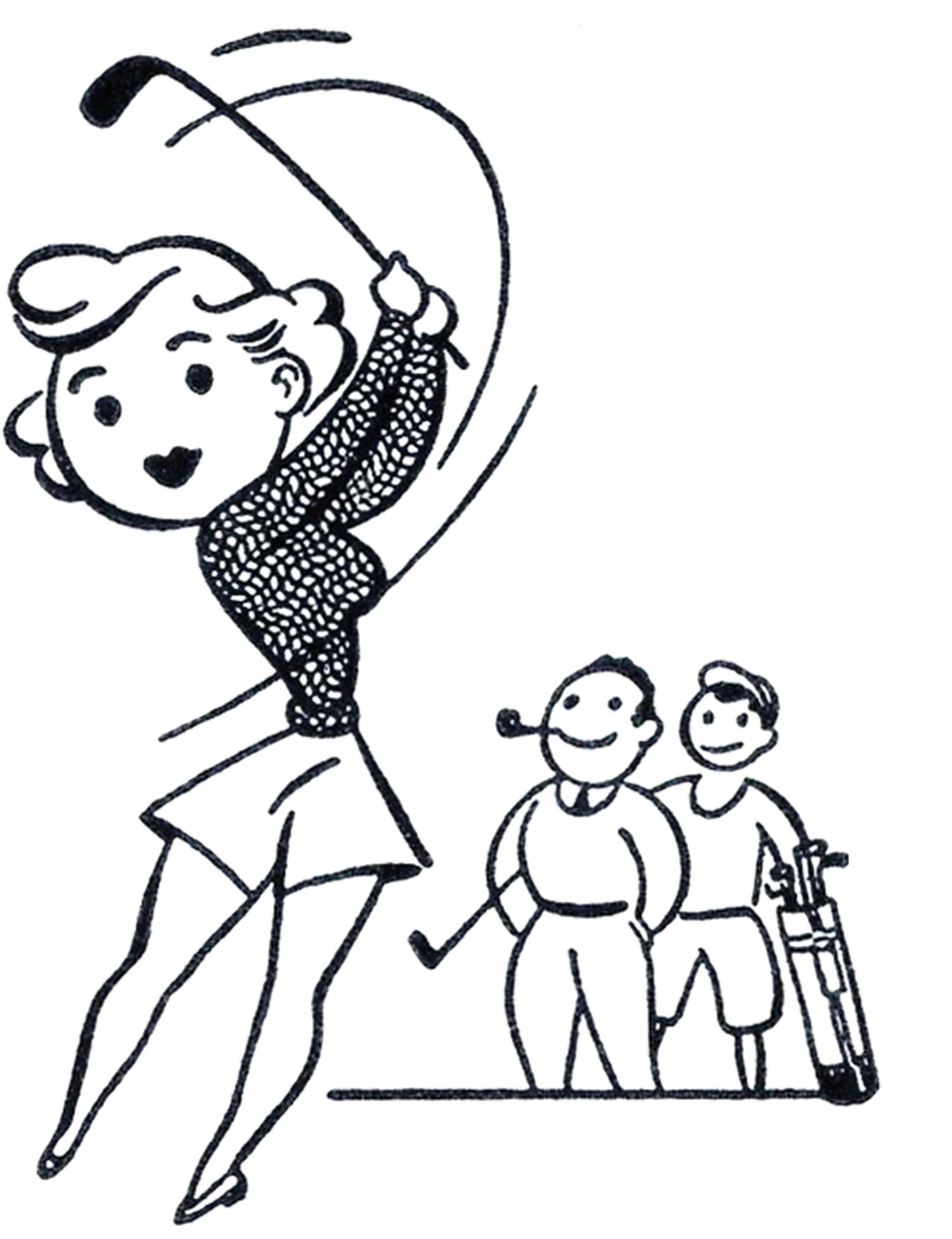 Christmas woman golf clipart jpg stock Retro Golf Clip Art - Funny! - The Graphics Fairy jpg stock