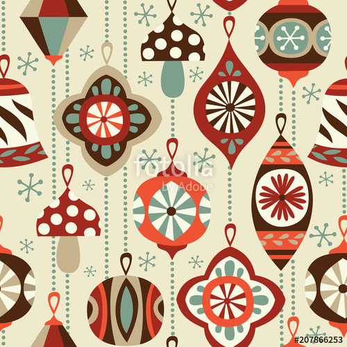 Christmas wrapping paper background clipart graphic library Vintage Christmas ornaments seamless vector background. Hand drawn ... graphic library