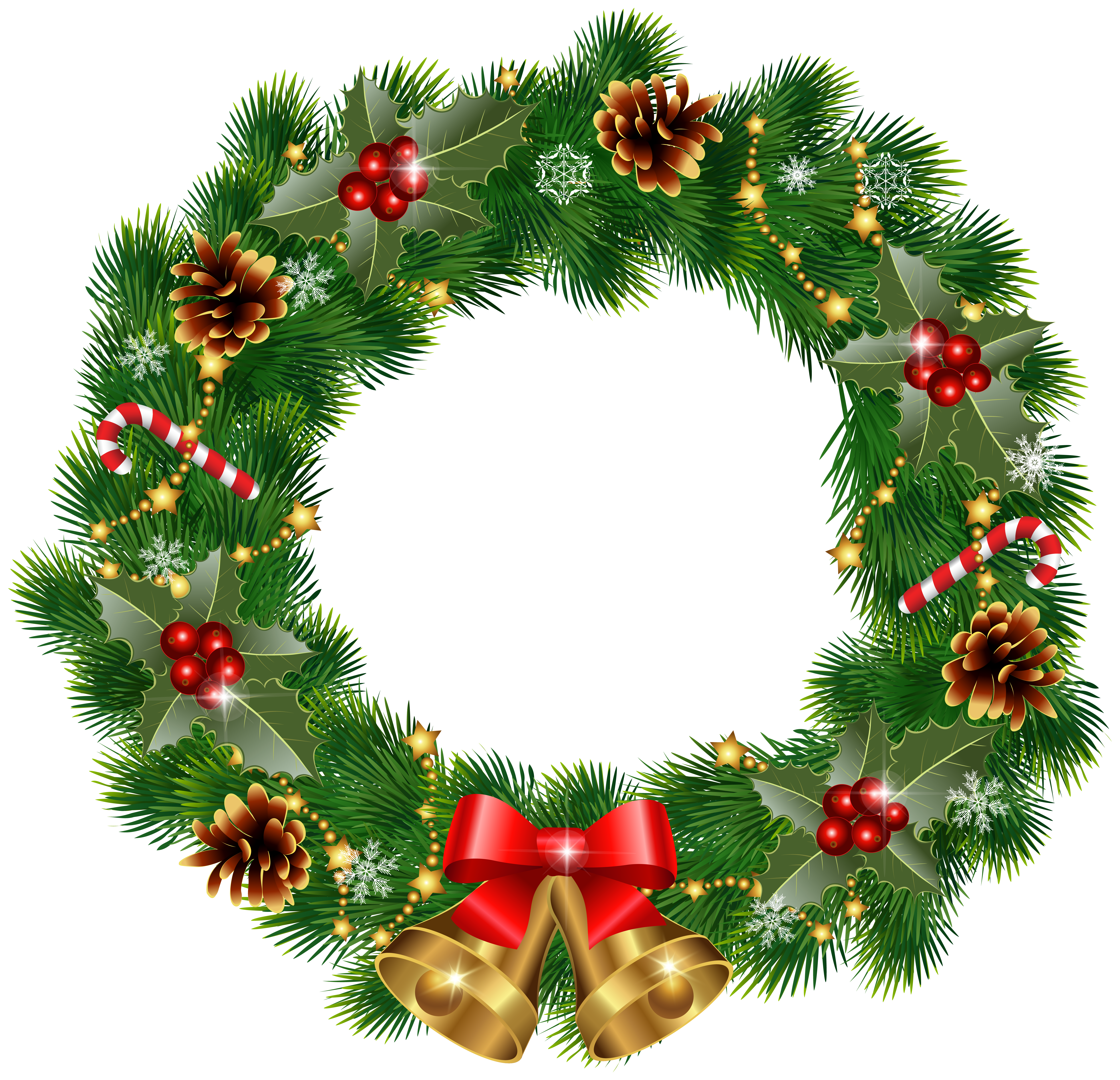Christmas wreath clipart free clip art black and white library Christmas Wreath with Bells PNG Clipart Image | Gallery ... clip art black and white library