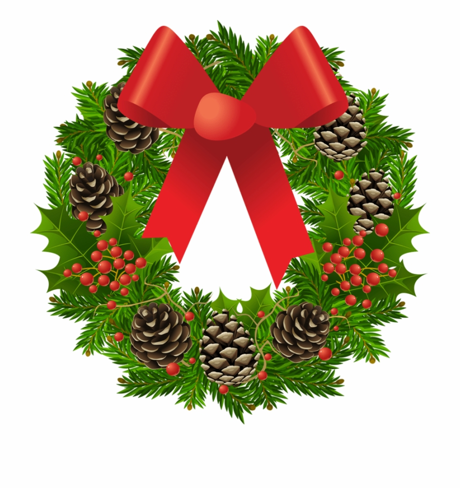 Christmas wreath green clipart graphic stock Christmas Wreath With Ribbon - Wreath Clip Art Free PNG Images ... graphic stock