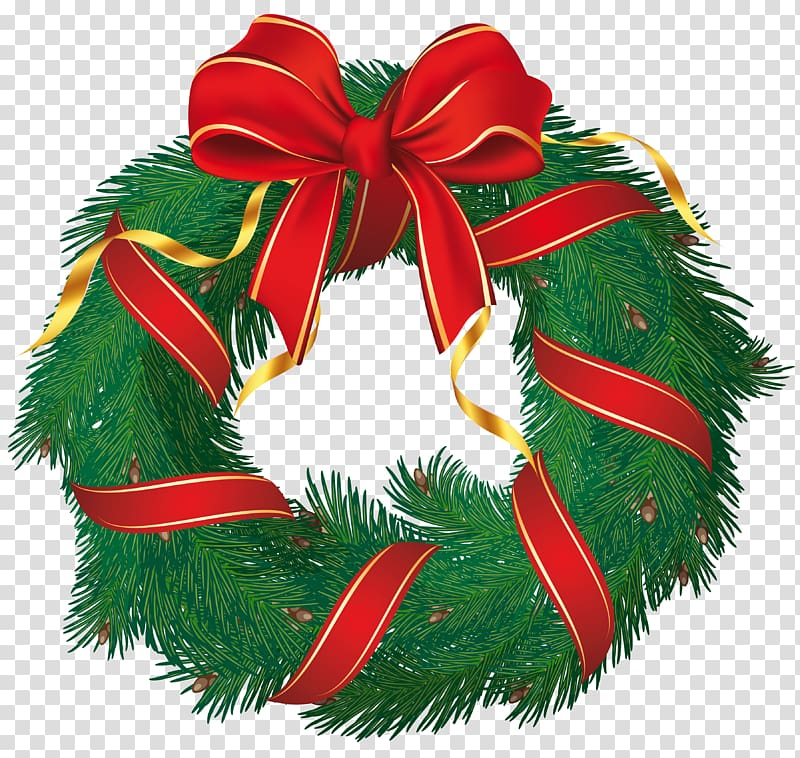 Christmas wreath green clipart picture transparent download Green garlands wreath, Wreath Flower, Christmas Wreath with Red Bow ... picture transparent download