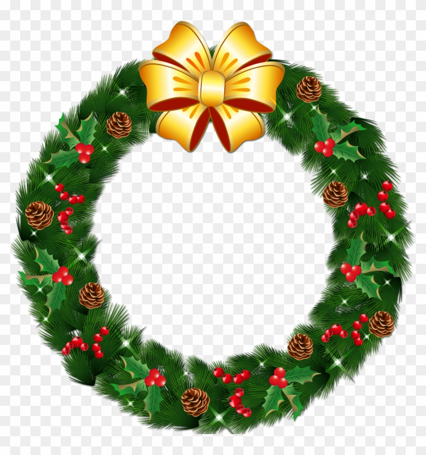 Christmas wreath transparent clipart png library stock Transparent Christmas Pine Wreath With Gold Bow Png - Christmas ... png library stock