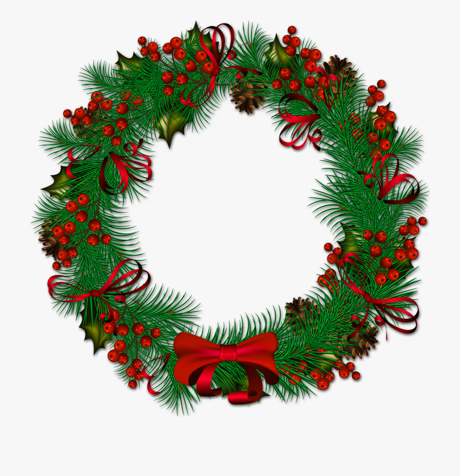 Christmas wreath transparent clipart image freeuse download Christmas Wreath - Christmas Wreath Transparent Background #40782 ... image freeuse download
