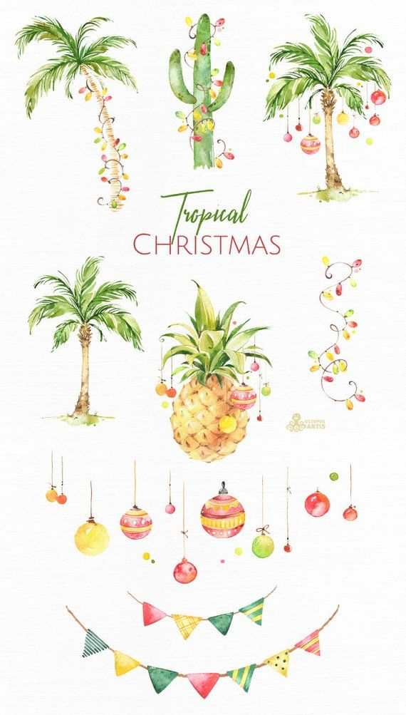 Christmaspineapple clipart clip art royalty free download Tropical Christmas. Watercolor holiday clipart, palms, cactus ... clip art royalty free download