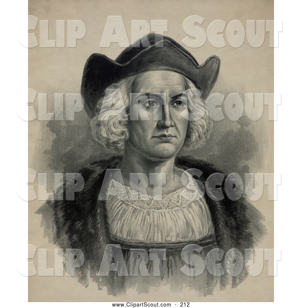 Christopher columbus bust clipart banner free download Clipart of a Portrait of Christopher Columbus Wearing a Hat ... banner free download