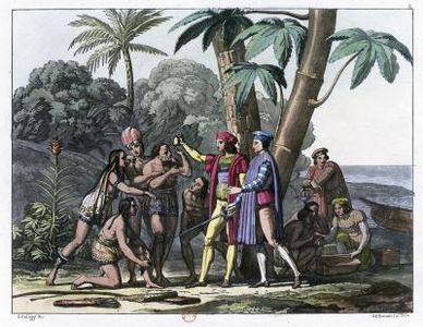 Christopher columbus lands in west indies clipart