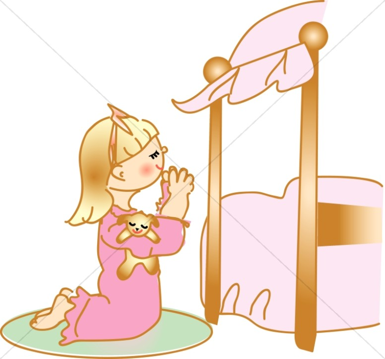 Praying kids clipart jpg black and white library Praying Girl in Nightgown at Bedside | Christian Children Clipart jpg black and white library