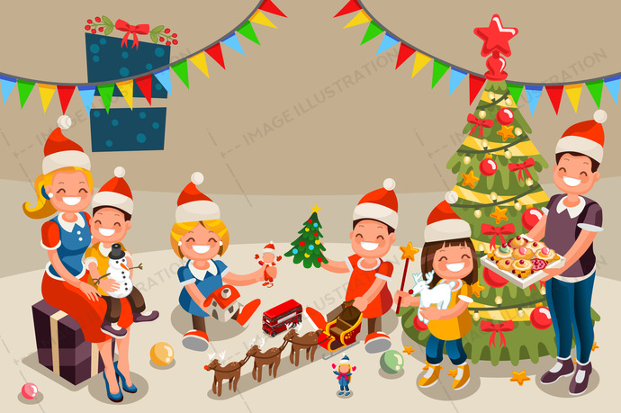 Library of family opening christmas presents svg black and ...