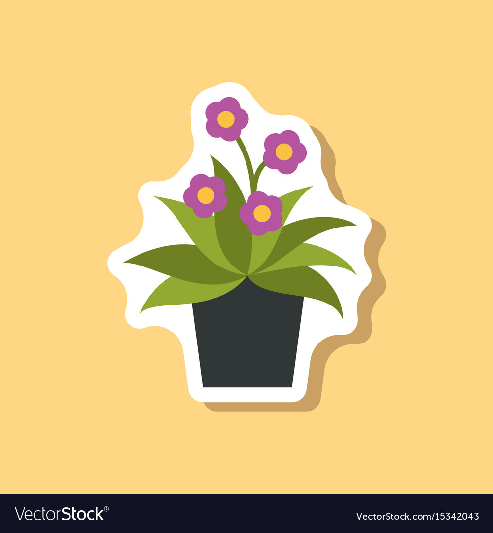 Chrysanthemums in pot clipart clip art free stock Paper sticker on stylish background chrysanthemums clip art free stock