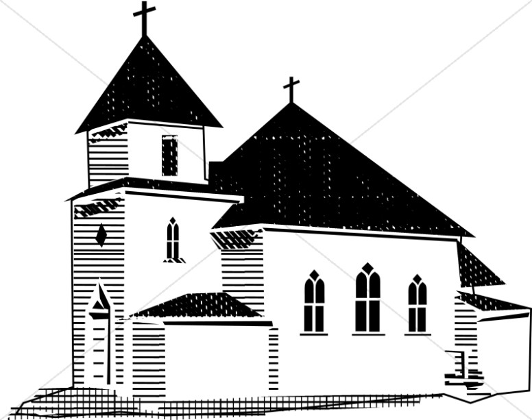 Church black and white clipart banner royalty free Church in Black and White | Church Clipart banner royalty free