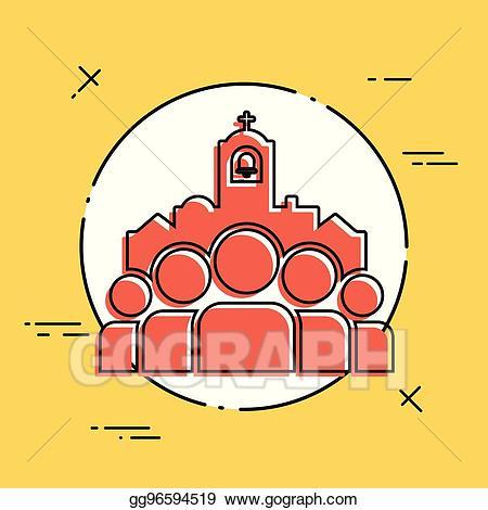 Church community clipart jpg transparent download Vector Art - Church community - vector flat minimal icon. Clipart ... jpg transparent download