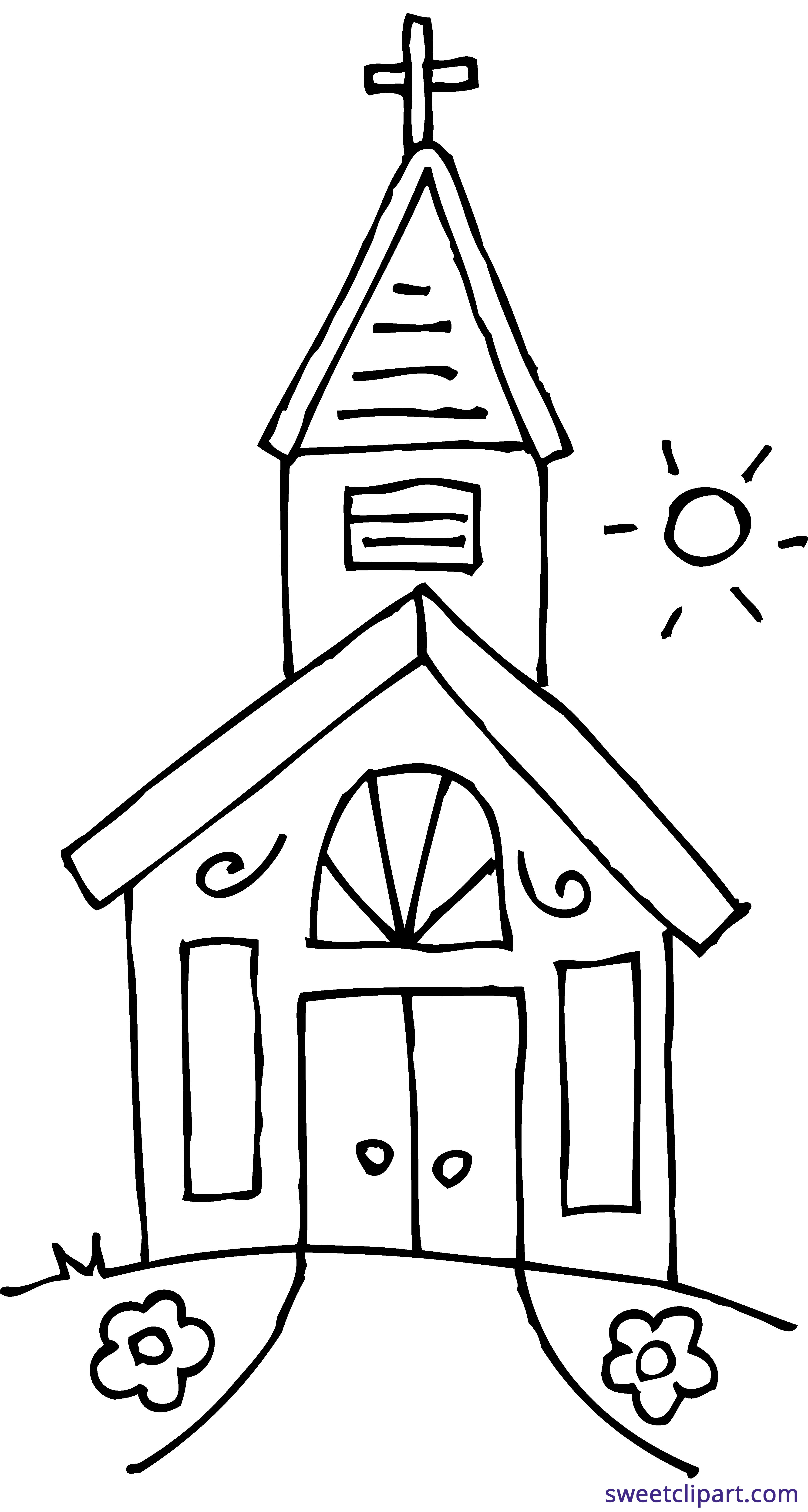 Church house clipart png library Church 2 Coloring Page Clipart - Sweet Clip Art png library