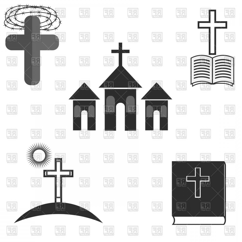 Church vector clipart jpg transparent Symbols Of Christianity Catholic Religion Church Cross And Bible ... jpg transparent
