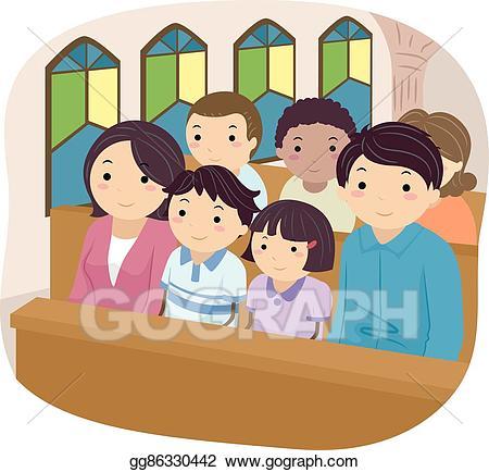Church vector clipart vector library stock Vector Clipart - Stickman family church. Vector Illustration ... vector library stock