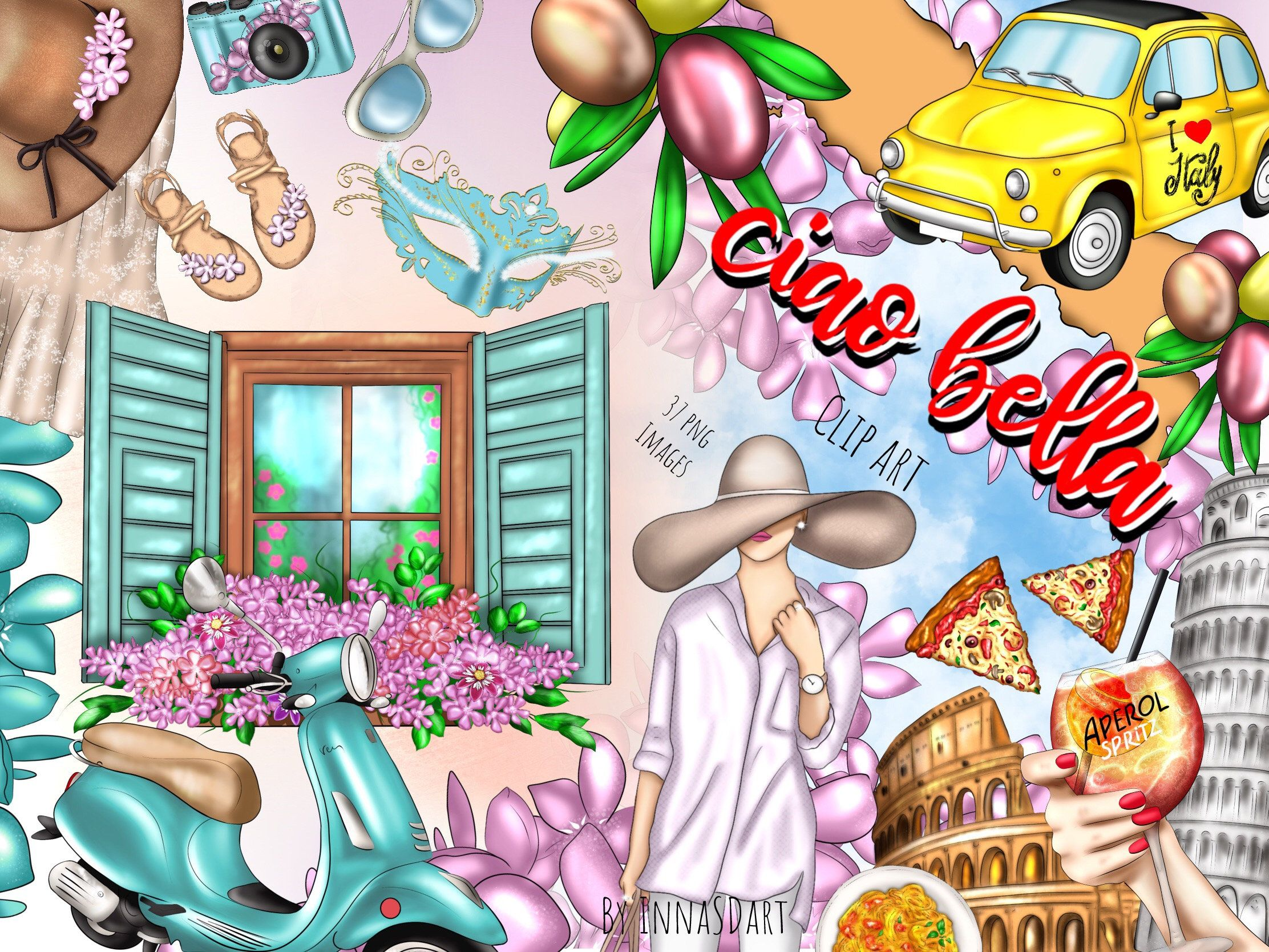 Ciao clipart vector freeuse library Ciao Bella clipart, Italy clipart, Rome, Planner clipart, Travel ... vector freeuse library