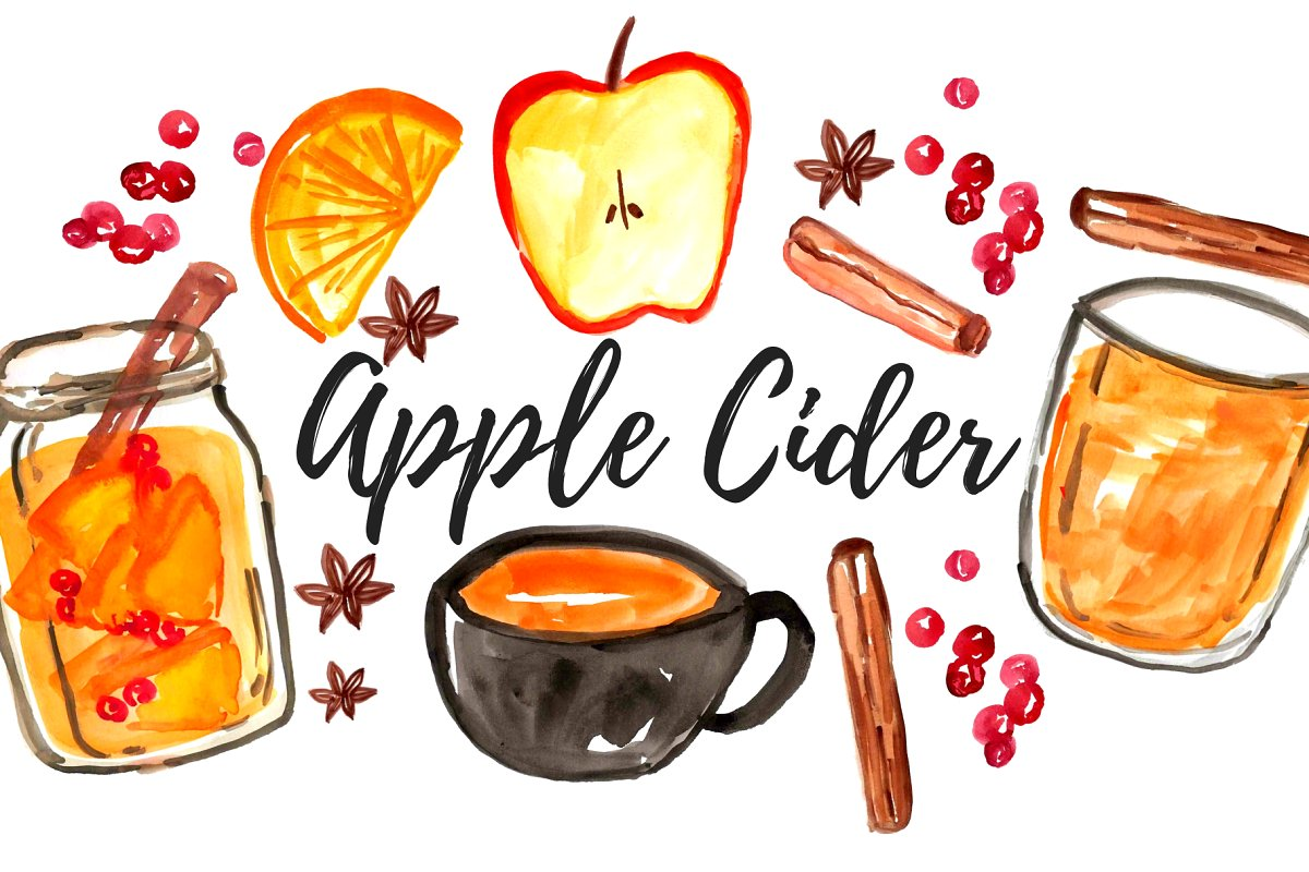 Cider mug clipart png transparent Watercolor Fall Apple Cider Clipart png transparent