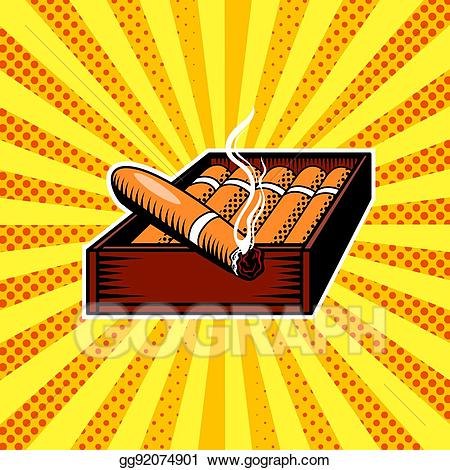 Cigar box clipart png black and white library Vector Art - Cigar box pop art vector illustration. Clipart Drawing ... png black and white library