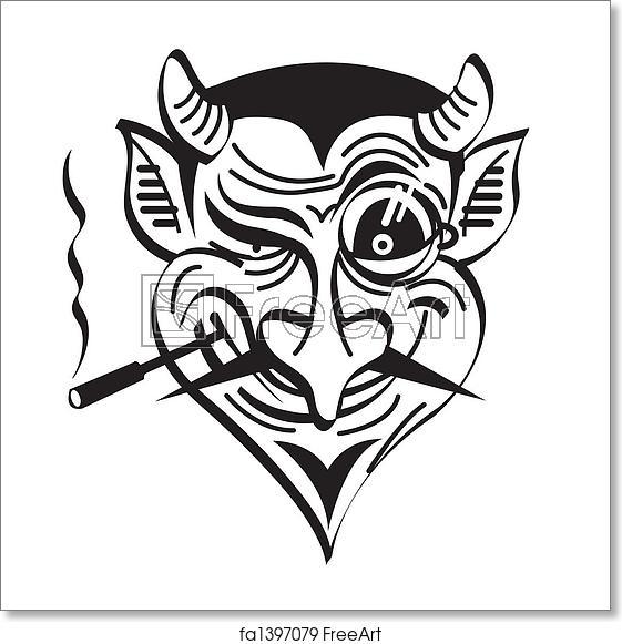 Cigar devil clipart picture stock Free art print of Devil Satan Evil Clip Art Graphic picture stock