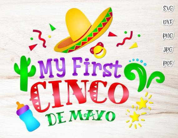 Cinco de mayo fiesta clipart clip transparent library My First Cinco de Mayo SVG Mexican Fiesta Clipart Baby Onesie Cut Print  Sublimation clip transparent library