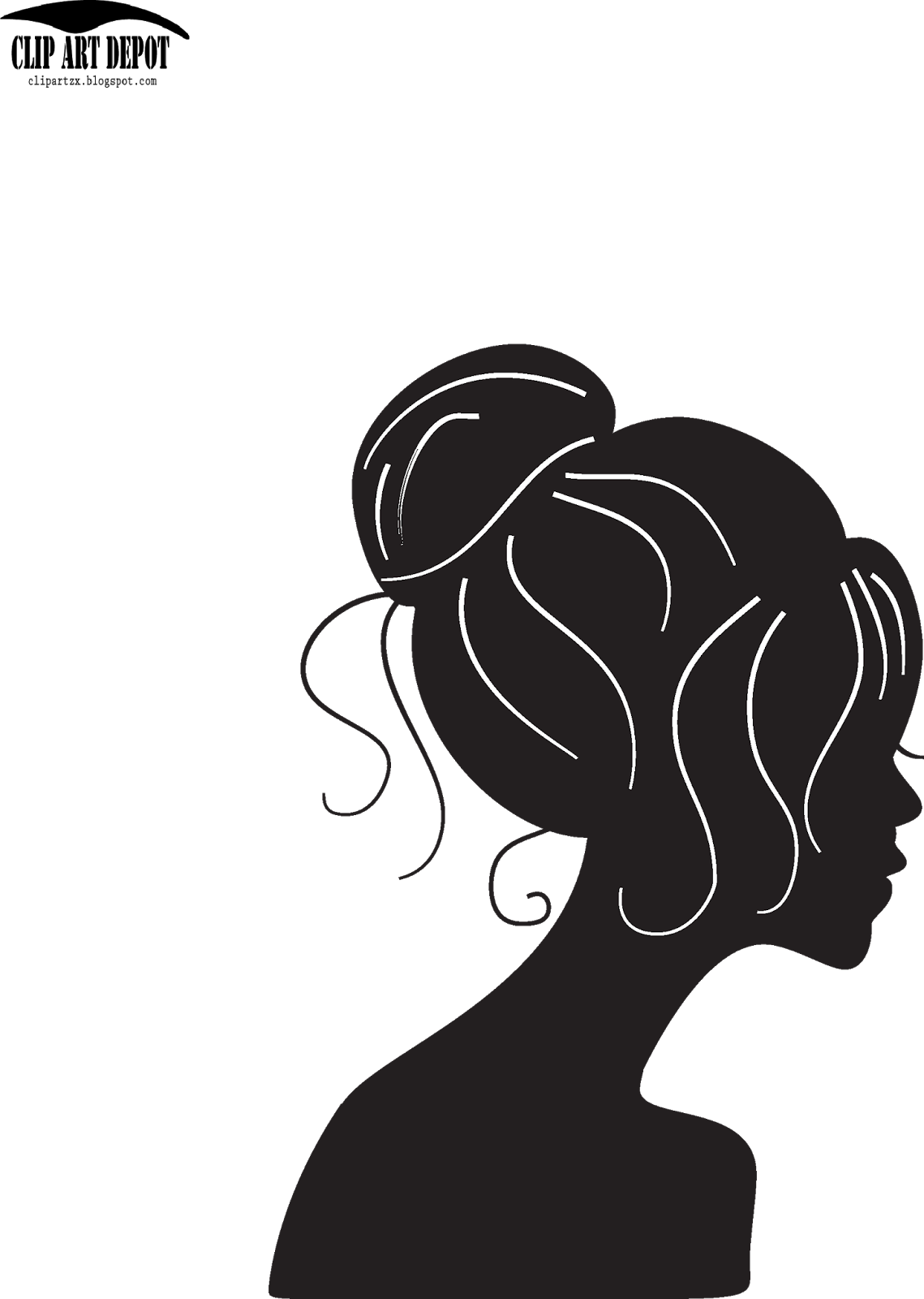 Cinderella head with crown silhouette clipart picture free stock Clip Art Depot: Vector - beauty girl silhouette with black. Vector ... picture free stock