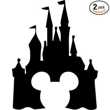 Cinderellas castle clipart vector library library Amazon.com: ANGDEST Cinderella Castle Clipart (Black) (Set of 2 ... vector library library