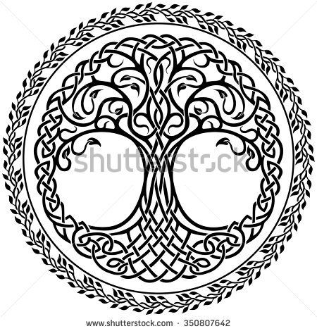 Circle border clipart viking png black and white download Vector ornament, decorative Celtic tree of life with floral round ... png black and white download