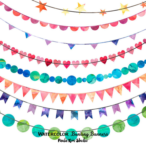 Circle bunting clipart jpg royalty free Pin by Georgeann Forester on Clipart | Banner clip art, Watercolor ... jpg royalty free