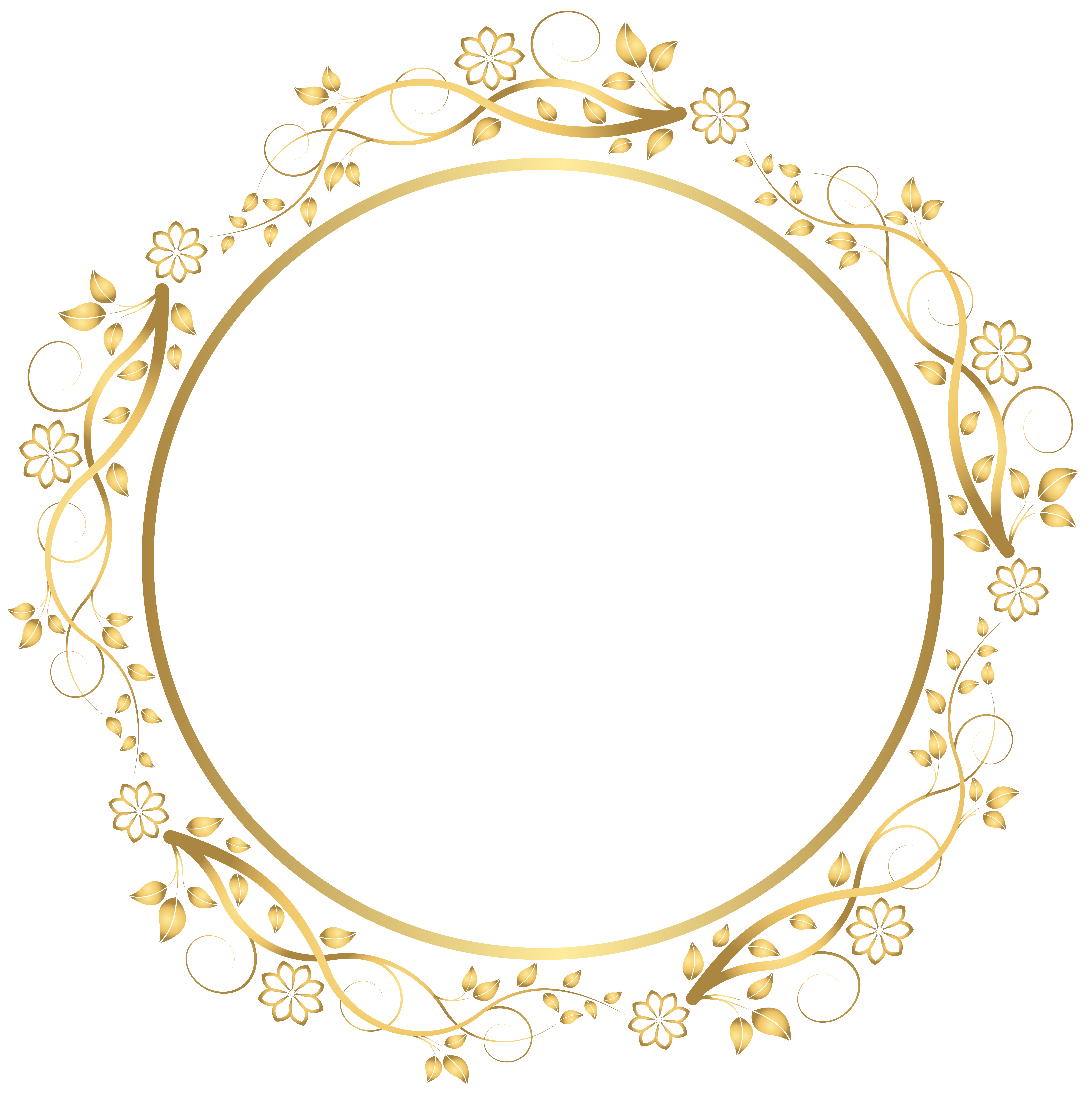 Circle flower clipart black and white Gold Round Floral Border Transparent PNG Clip Art Image | Gallery ... black and white