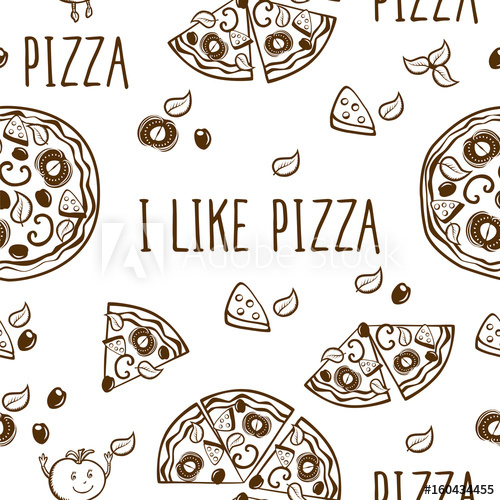 Circle of hands clipart one color royalty free stock I like pizza. Seamless pattern with hand drawn pizza for pizzeria ... royalty free stock