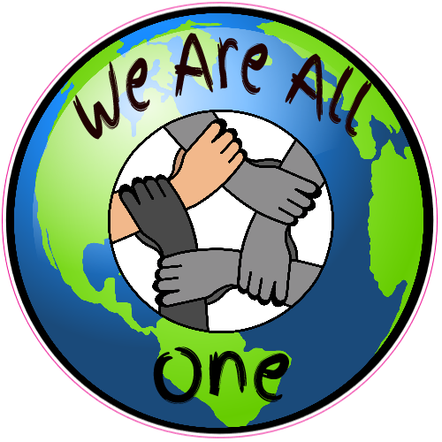 Circle of hands clipart one color banner transparent We Are All One Hands Together Sticker banner transparent