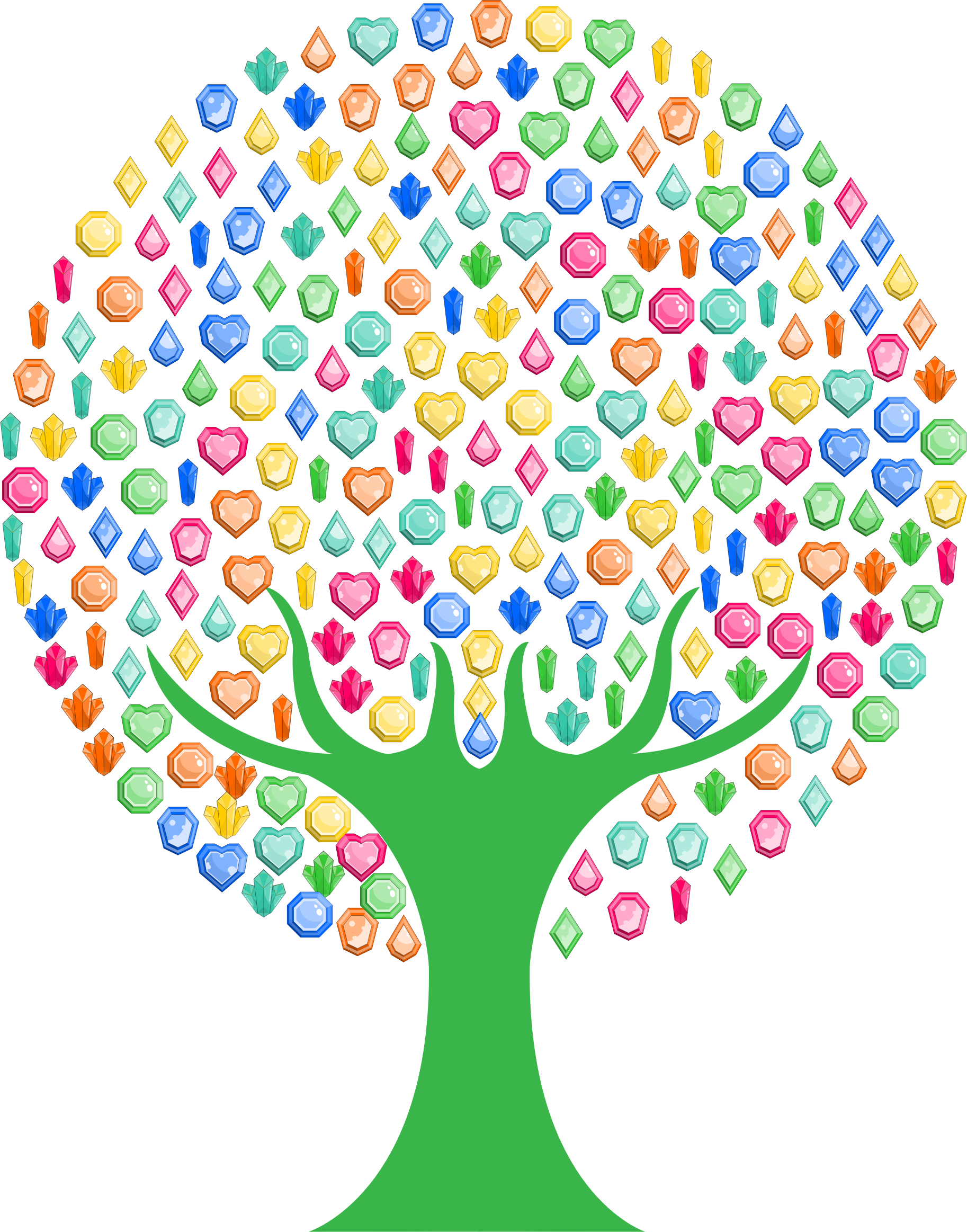 Tree circle clipart clipart black and white download Clipart - Colorful Gems Tree clipart black and white download