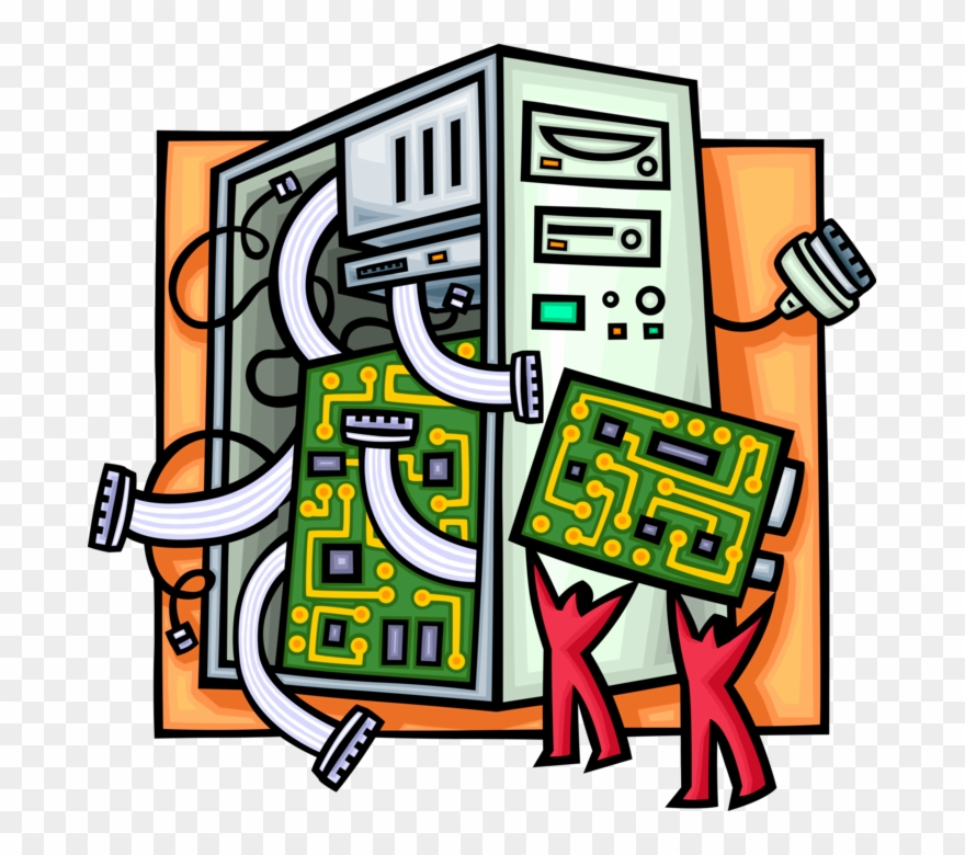 Circuits clipart graphic black and white download Vector Illustration Of Computer Printed Circuit Board - Computer ... graphic black and white download