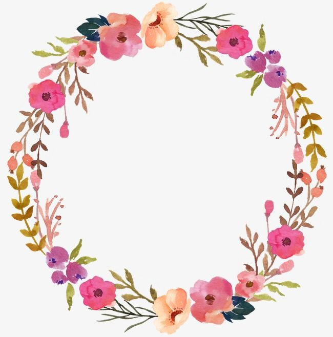 Circular clipart flower svg stock Wreath, Hand Painted, Flower PNG Transparent Image and Clipart for ... svg stock