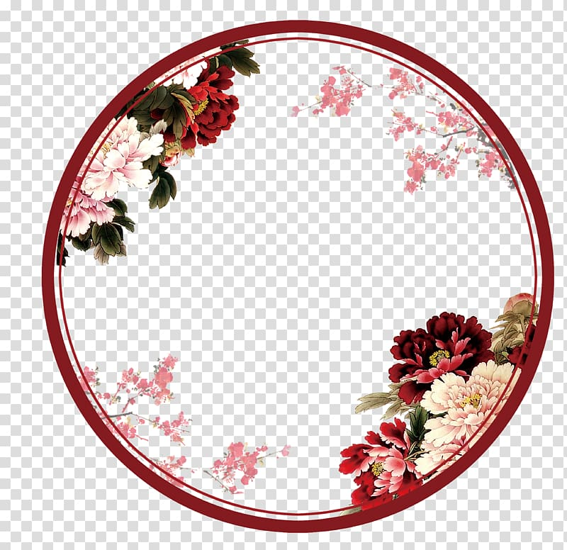 Circular clipart flower vector black and white library Flower Circle Wreath , flower transparent background PNG clipart ... vector black and white library