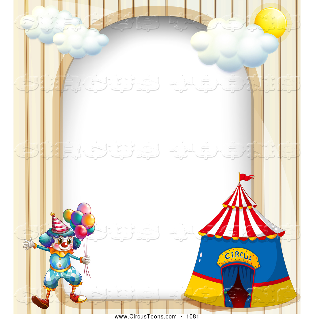 Circus border clipart clipart royalty free library Circus Clipart of a Circus Clown and Big Top Arch Border by Graphics ... clipart royalty free library