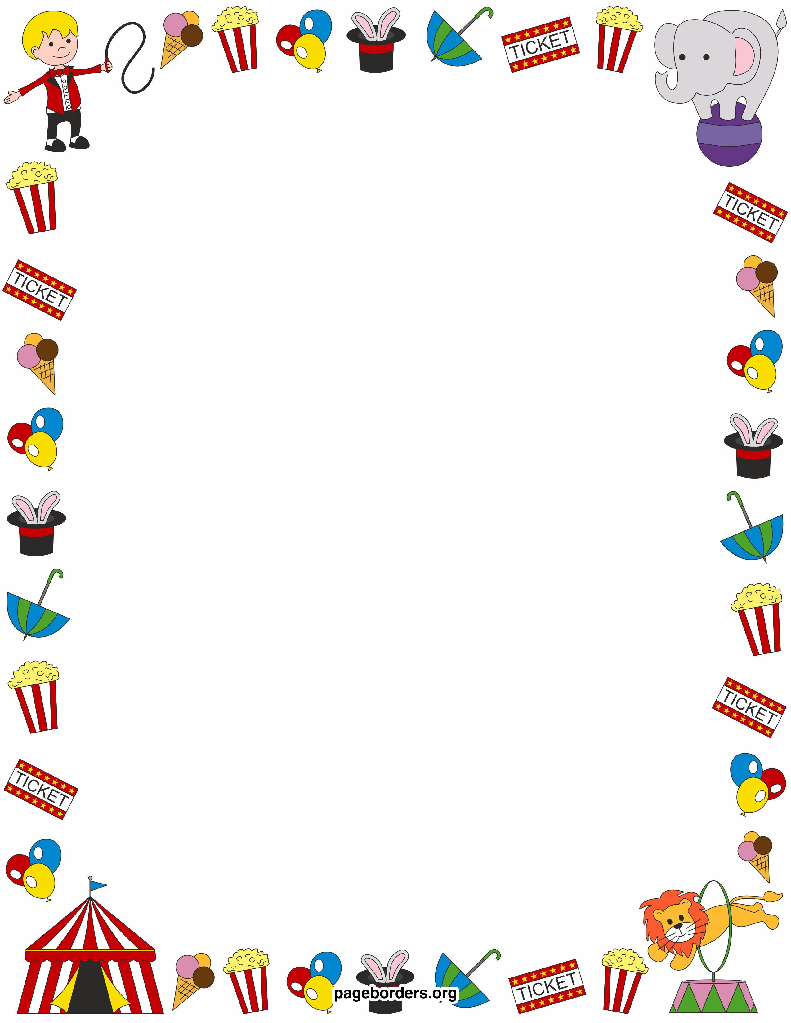 Circus border clipart vector transparent library Free Circus Word Cliparts, Download Free Clip Art, Free Clip Art on ... vector transparent library