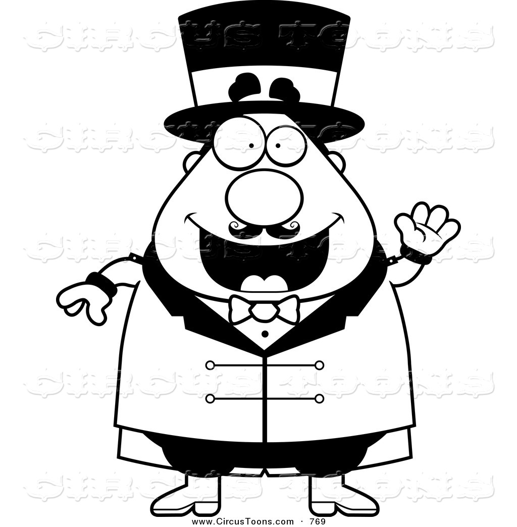 Circus ring master clipart black and white vector library library Circus Clipart of a Black and White Waving Ring Master by Cory ... vector library library
