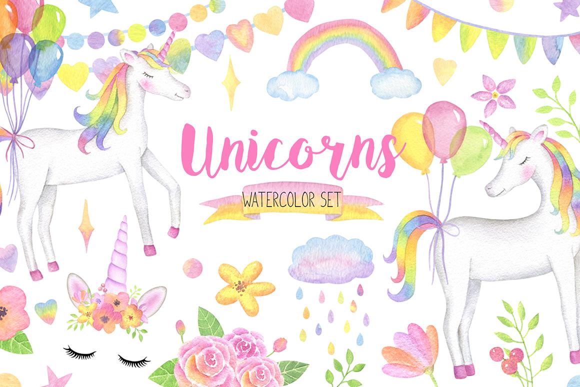 Citrus rainbow clipart png transparent library Magical Unicorn Watercolor Set, Unicorn Face Clipart, Rainbow ... png transparent library