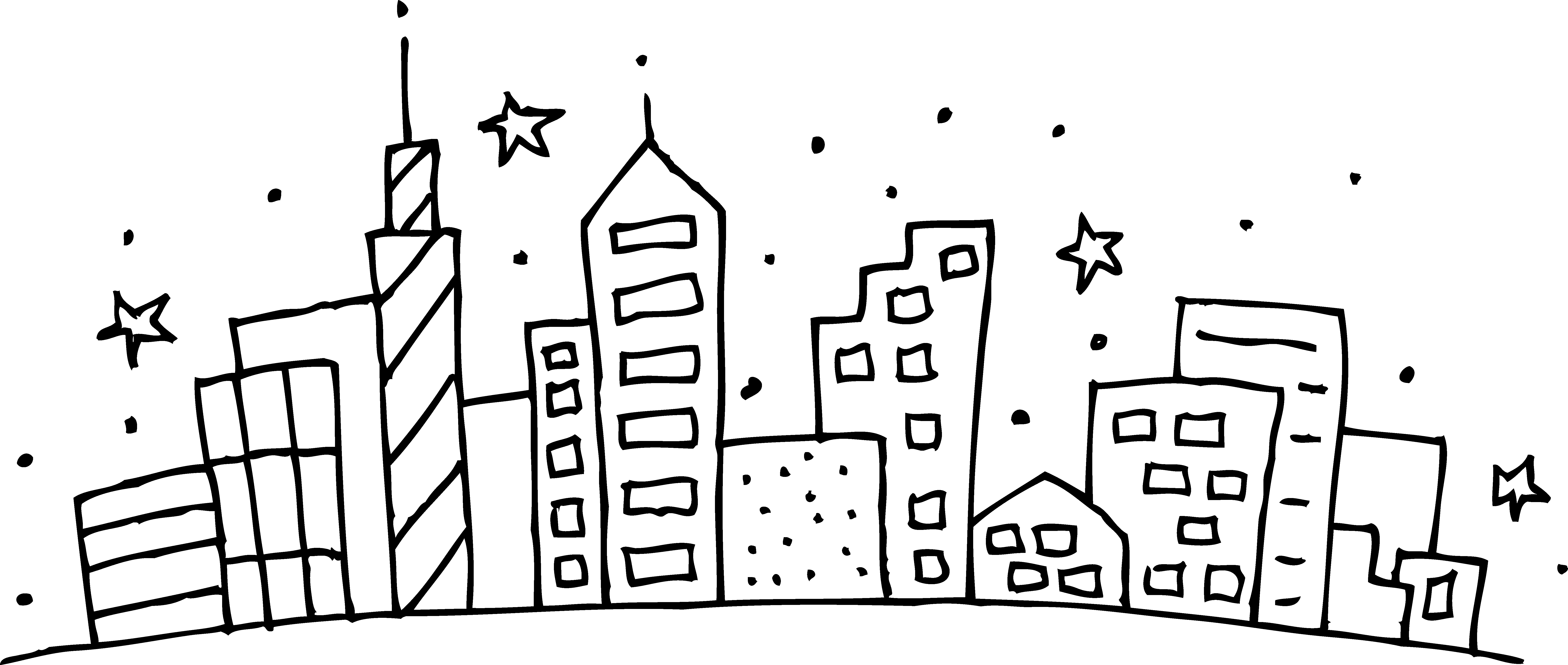 City buildings outline clipart free library Cityscape Coloring Page - Free Clip Art free library