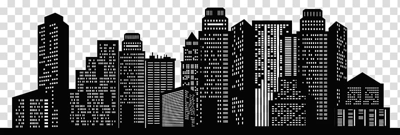 City clipart black and white transparent background svg black and white stock Black cityscape art, New York City Chicago Skyline Silhouette ... svg black and white stock