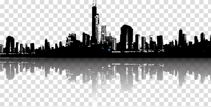 City clipart black and white transparent background vector library Silhouette of buildings, Cityscape Skyline Illustration, city ... vector library