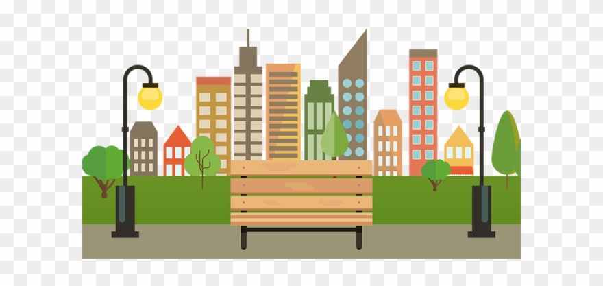 City vector clipart clipart black and white stock Free Download City With Bench Png - Vector Graphics Clipart (#17941 ... clipart black and white stock
