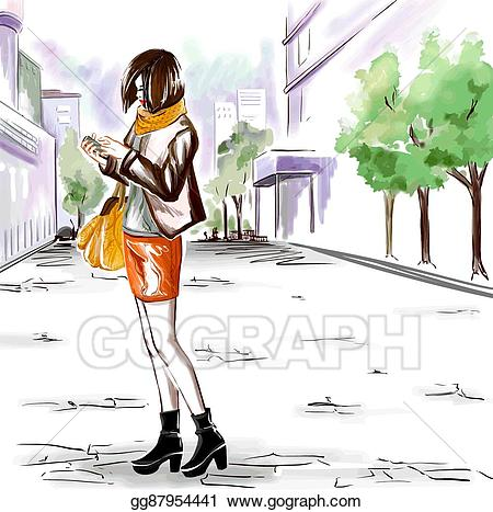 City girl clipart banner free Vector Art - Watercolor girl on the city street. EPS clipart ... banner free