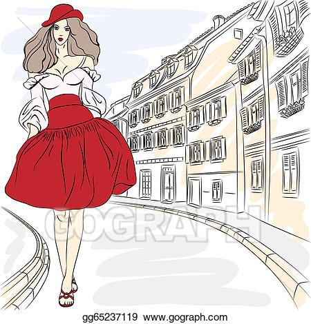 City girl clipart svg transparent library Vector Art - Vector beautiful fashion girls top models in summer ... svg transparent library